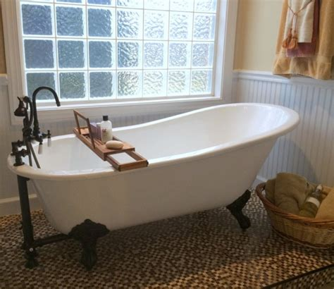 bathroom ideas with clawfoot tub mosaic tiled floor with glass wall for small bathroom