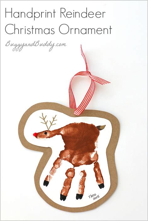 child handprint ornament handprint reindeer ornament craft for