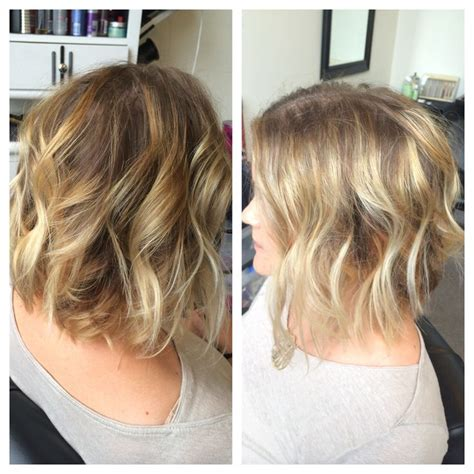 sombre short hairstyles sombre blonde highlights with textured angled bob sombre