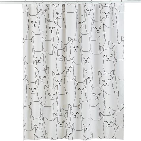 glow in the dark shower curtain glow in the dark cats shower curtain white by