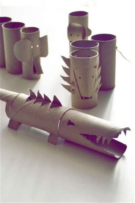 Wrapping Paper Roll Crafts - wrapping paper rolls crocodile elephant diy