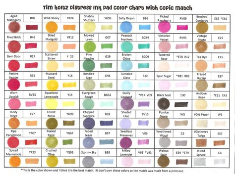 distress ink color chart raining grace distress ink pads and copic marker match up