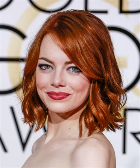 emma stone ginger emma stone medium wavy casual hairstyle dark red ginger