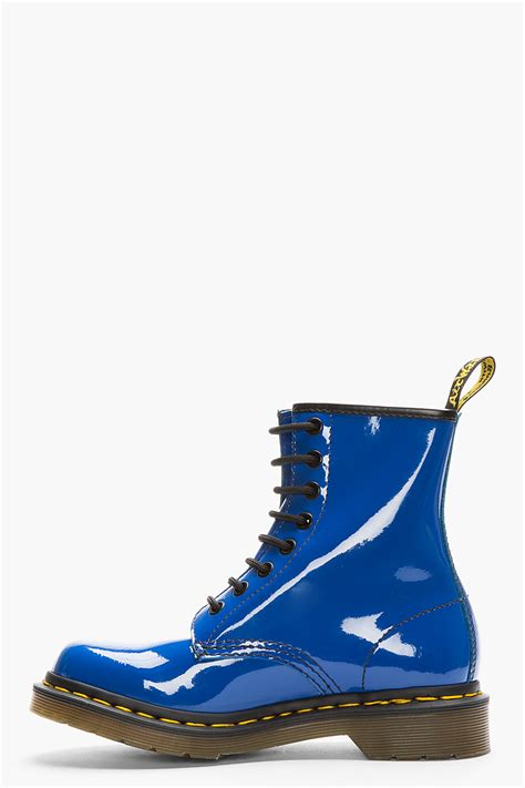 blue leather shoes lyst dr martens royal blue patent leather w 8 eye boots