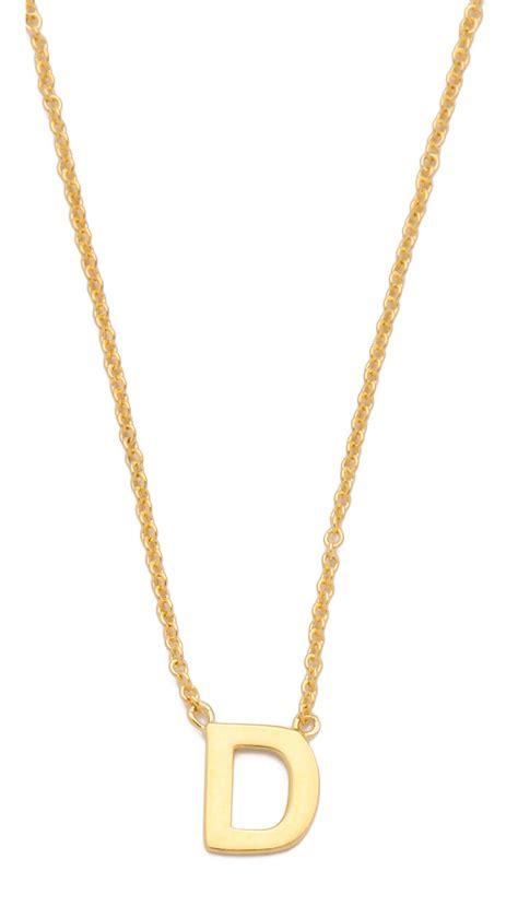 gorjana alphabet necklace t in gold d lyst