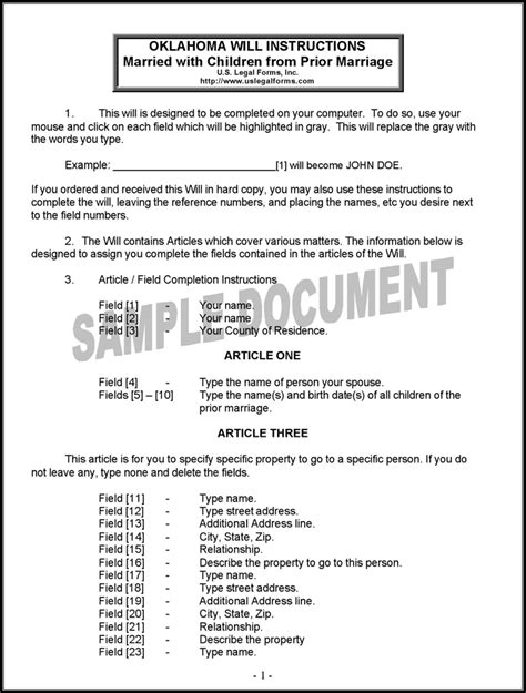 Free Oklahoma Last Will And Testament Form For Married Person With Minor Children From Prior Last Will And Testament Cover Page Template