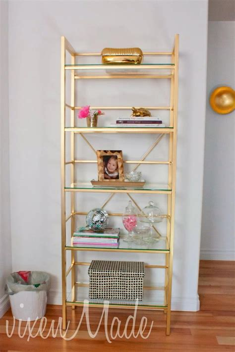diy gold etagere bookcase