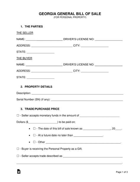 Free Georgia General Bill Of Sale Form Word Pdf Free Bill Of Sale Template Ga