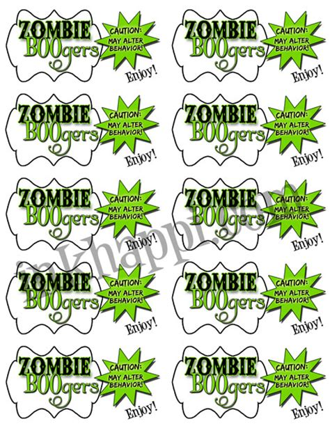 printable zombie labels zombie boogers are yummy really inkhappi