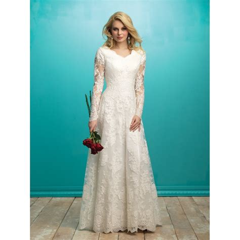 modest lace wedding dresses with sleeves allure modest m541 long sleeve lace a line wedding dress