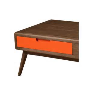 table basse 2 tiroirs bois orange lucky univers salon