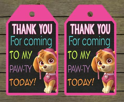 printable thank you cards paw patrol skye paw patrol digital thankyou thank you card tag
