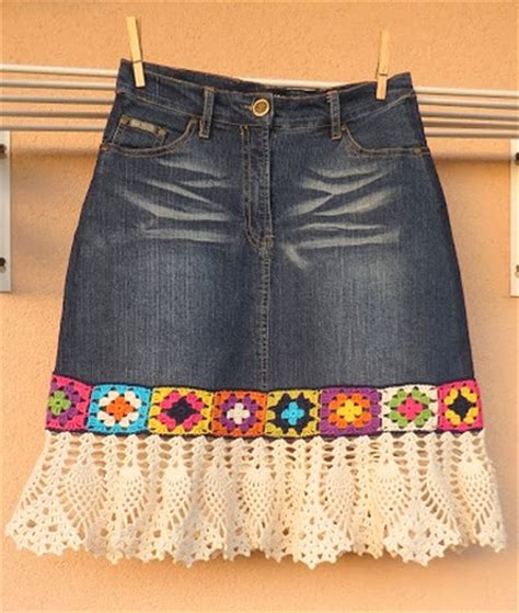 recycled denim skirt with crochet crochet patterns and