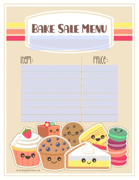 baking templates printable bake sale cake ideas and designs
