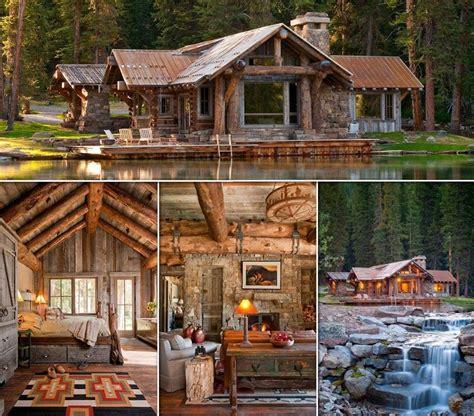 cabin big large rustic cabin lake house home make mine rustic