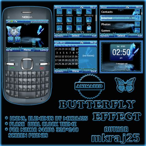 themes nokia x2 01 anime animated butterfly clock theme for nokia c3 x2 01