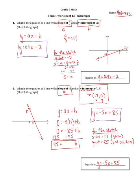 grade 9 slope worksheets printable worksheets 187 slope worksheets with answers
