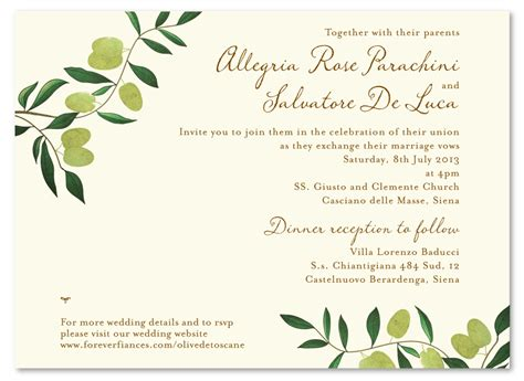 italian wedding invitations wording olive de toscane premium recycle paper wedding and destination wedding invitations