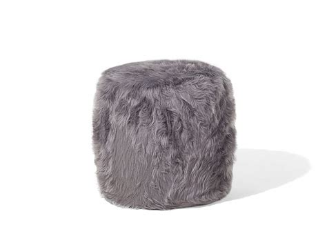 Fluffy Stool by Ottoman Living Room Stool Pouffe Fluffy Shaggy Grey