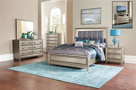 Bedroom Furniture Silver Homelegance Hedy Bedroom Set Silver 1839 Bedroom Set At Homelement