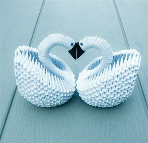 3d Origami Wedding - 3d origami 2 white swans swan for wedding table