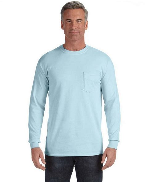 comfort colors chambray comfort colors c4410 sleeve pocket t shirt