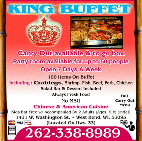 King Buffet West Bend Wi 53095 Yellowbook King Buffet Prices