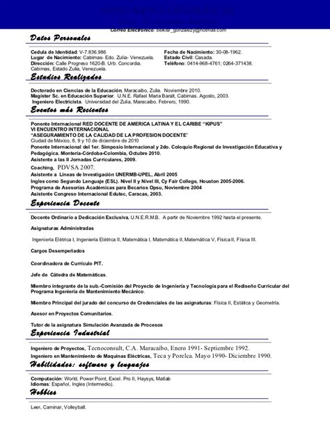 Modelo Curricular Modelo De Sintesis Curricular Sintesis Curricular Gustavo Salazar Actualizada 2012 Resumen
