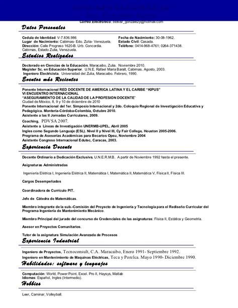 Modelo Resumen Curriculum En Ingles Resumen Curricular Belkis1