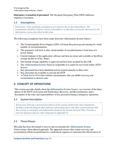 occupant emergency plan template information technology contingency plan template