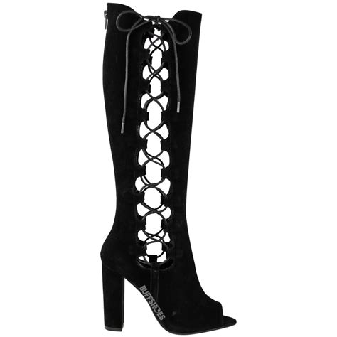 lace up high heel boots womens lace up side knee high block heel boots cut