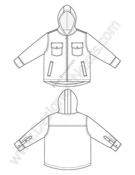 V33 Hooded Jacket Childrens Fashion Flat Sketch