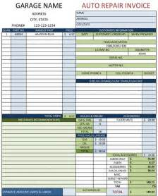 garage invoice template mechanic shop invoices search m a r s