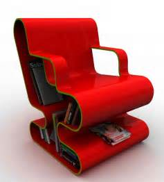 A curved lounge chair with built in book storage digsdigs