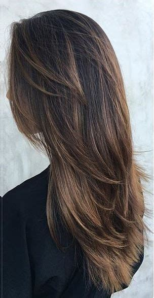 long hair short layers pictures of color cuts and up warm cocoa brunette highlights hair color pinterest