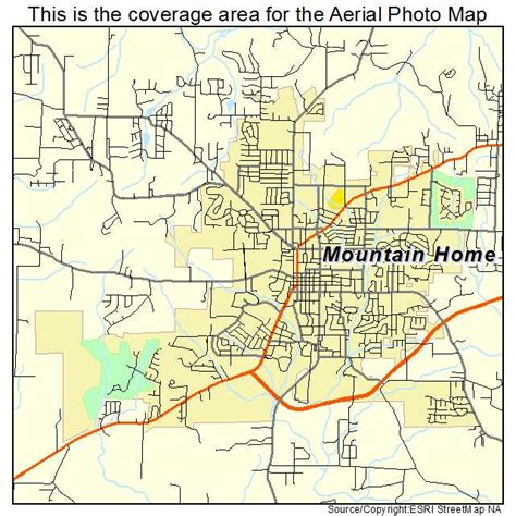 aerial photography map of mountain home ar arkansas