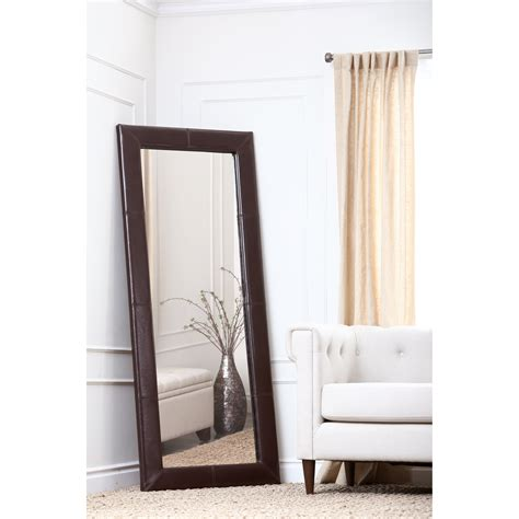 large leather floor mirror brown 31w x 70h in