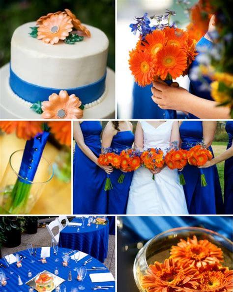 festive blue and orange wedding ideas wedding color combos