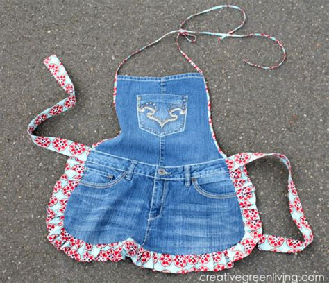 apron pattern using old jeans how to make recycled jeans apron sew handimania