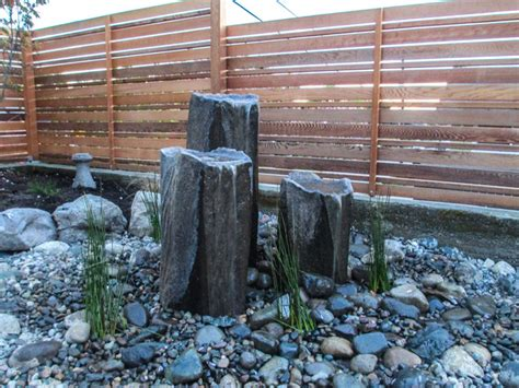 Rock Garden With Water Feature Bubbling Rock Water Feature Asian Landscape Seattle By Choice Landscapes Llc