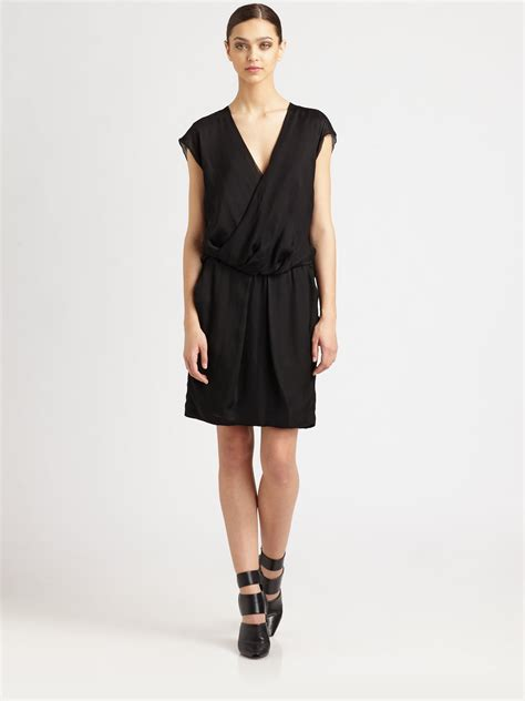 draped back dress alexander wang silk gauze draped back dress in black onyx