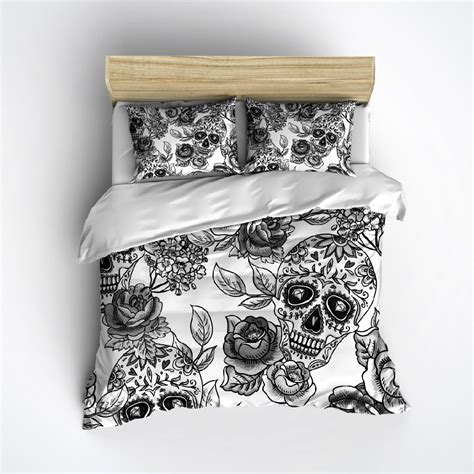 skull bed fleece sugar skull bedding any color mega print by inkandrags