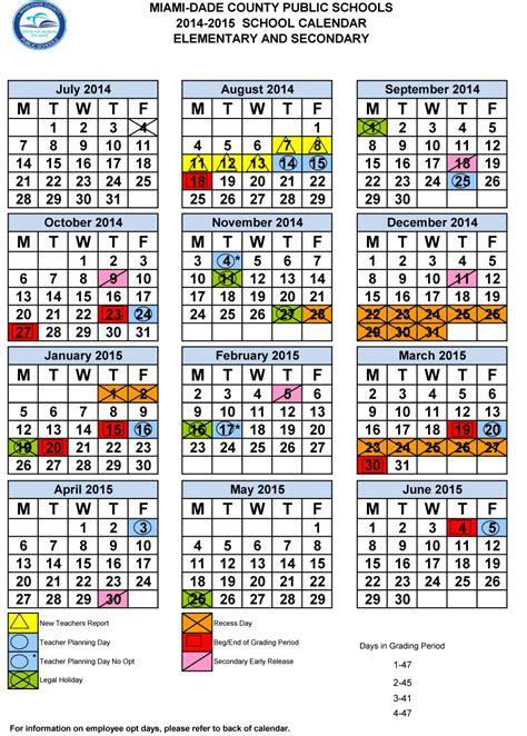 Calendario Escolar 2017 Miami Miami Dade County Elementary Calendar Calendar 2017
