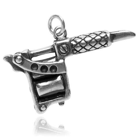 tattoo gun necklace charm sterling silver tattoo gun charm silver star charms