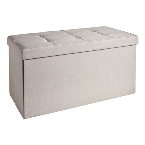wilko large faux linen ottoman cream at wilko com
