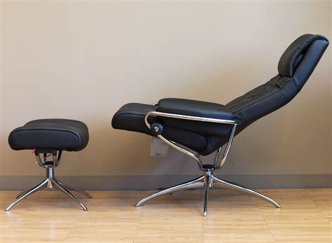 stressless leather chair and ottoman stressless metro high back paloma black leather recliner