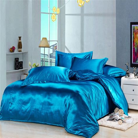 solid blue comforter luxury blue silk satin bedding duvet cover comforter sets