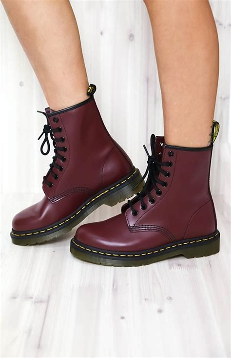 doc marten shoes dr martens 1460 cherry smooth new