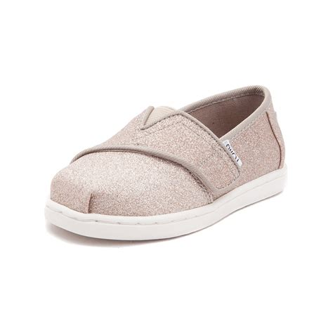 toddler toms classic glimmer slip on casual shoe gold