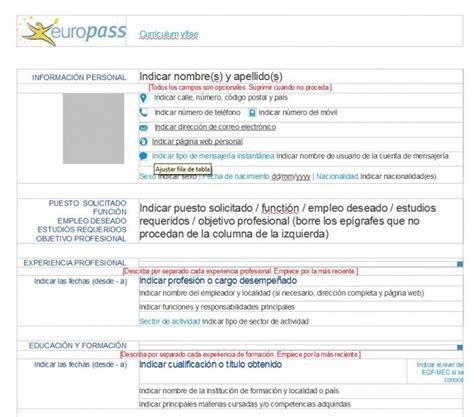 Modelo Curriculum Europeo Relleno El Curriculum Europeo Un Documento V 225 Lido Para Todos Los Pa 237 Ses De La Ue Cursosinemweb Es